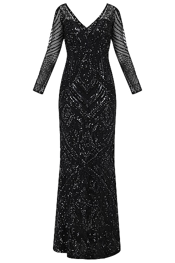 Black Embroidered Gown by Megha & Jigar
