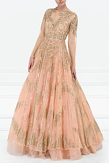 Peach Embroidered Gown by Megha & Jigar