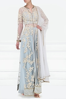 Sea Blue Embroidered Kurta and Sharara Pants Set by Megha & Jigar