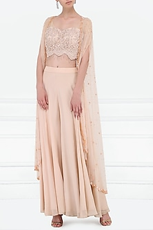 Mauve Embroidered Bustier, Sharara Pants and Cape by Megha & Jigar