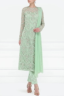 Mint Green Embroidered Kurta with Pants Set by Megha & Jigar