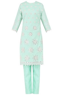 Aqua Blue Embroidered Kurta with Pants Set by Megha & Jigar