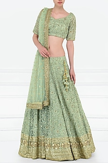 Fern Green Embroidered Lehenga Set by Megha & Jigar