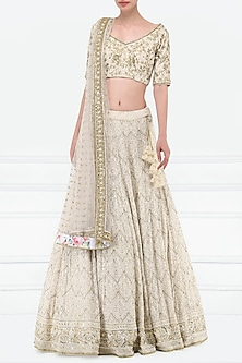 Ivory Embroidered Lucknavi Lehenga Set by Megha & Jigar