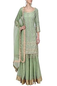 Fern Green Embroidered Sharara Set by Megha & Jigar-READY TO SHIP