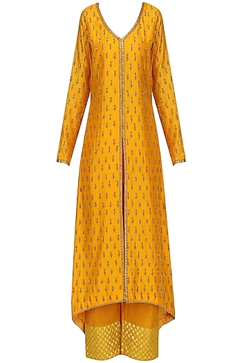 Mustard Embroidered Kurta Set by Megha & Jigar