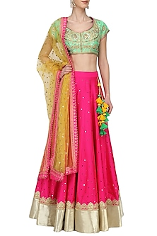 Green and Pink Embroidered Lehenga Set by Megha & Jigar