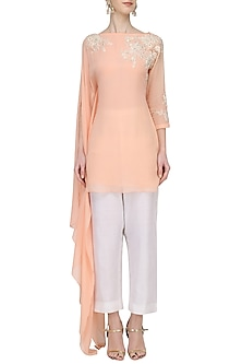 Peach Long Sleeves Tunic by Megha & Jigar