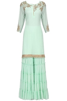 Aqua Embroidered Frill Gharara Set by Megha & Jigar