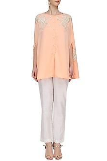 Peach Drape Shirt by Megha & Jigar