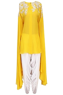 Mustard Embroidered Tunic with Off White Dhoti Pants by Megha & Jigar