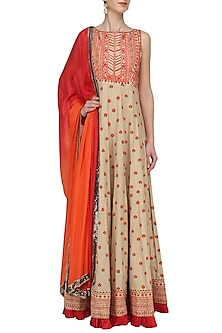 Beige Threadwork Anarkali Set by Megha & Jigar