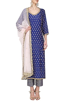 Royal Blue Embroidered Kurta Set by Megha & Jigar