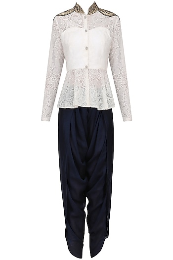 White Embroidered Peplum Tunic with Navy Dhoti Pants by Megha & Jigar