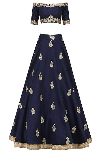 Navy Blue Embroidered Off Shoulder Lehenga Set by Megha & Jigar