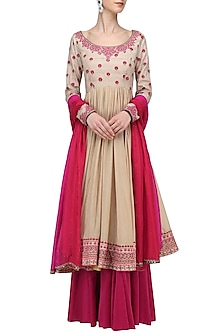 Beige and Red Threadwork Anarkali Set by Megha & Jigar