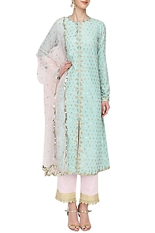 Aqua and Baby Pink Sequins Kurta Set by Megha & Jigar