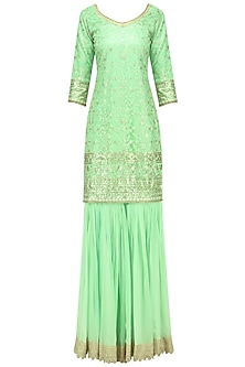Mint Threadwork Gharara Set by Megha & Jigar