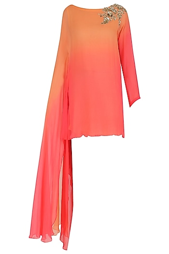 Peach Ombre Draped Tunic by Megha & Jigar