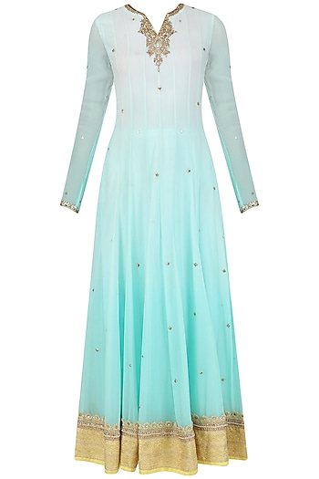 Aqua Ombre Embroidered Anarkali Set by Megha & Jigar