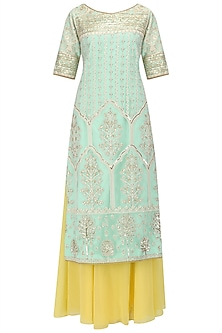 Aqua Sequins Embroidered Kurta and Sharara Pants Set by Megha & Jigar