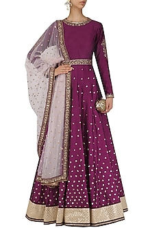 Wine Sequins Embroidered Anarkali with Dupatta and Belt by Megha & Jigar