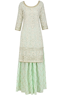 Pista Sequins Embroidered Kurta and Gota Patti Sharara Set by Megha & Jigar