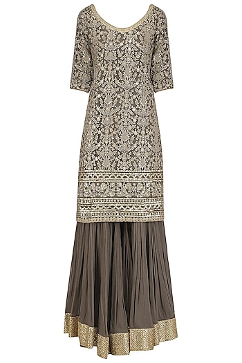 Brown Chanderi Kurta and Pleated Gharara Set by Megha & Jigar