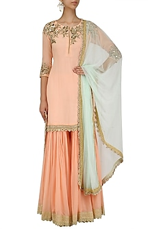 Peach Embroidered Kurta and Pleated Gharara Set by Megha & Jigar