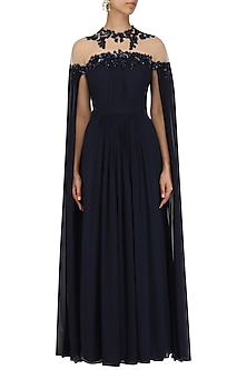 Navy Blue Embroidered Cape Sleeves Gown by Megha & Jigar