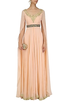 Peach Embroidered Cape Sleeves Gown by Megha & Jigar