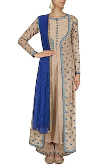 Beige Thread Work Jacket Kurta and Chanderi Palazzo Set by Megha & Jigar