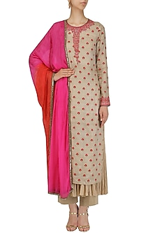 Beige and Pink Kurta with Chanderi Palazzo Set by Megha & Jigar