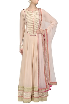 Peach Embroidered Anarkali and Churidaar Set by Megha & Jigar