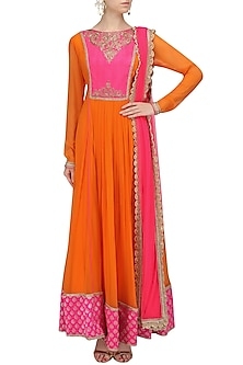 Orange Embroidered Yoke Anarkali and Churidaar Set by Megha & Jigar