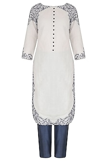 White Linen Dori Work Kurta and Trouser Set by Megha & Jigar