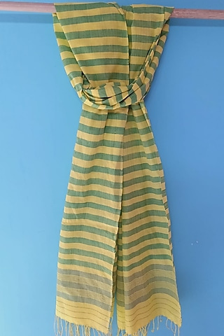 Yellow & Green Handwoven Stole by Manju Kalita Das