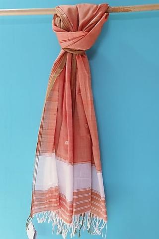 Orange Handwoven Stole by Manju Kalita Das