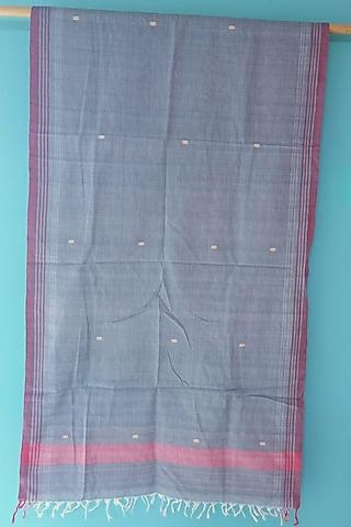 Blue Handwoven Cotton Stole by Manju Kalita Das