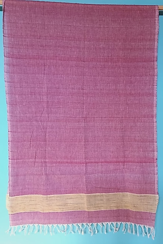 Maroon Handwoven Cotton Stole by Manju Kalita Das