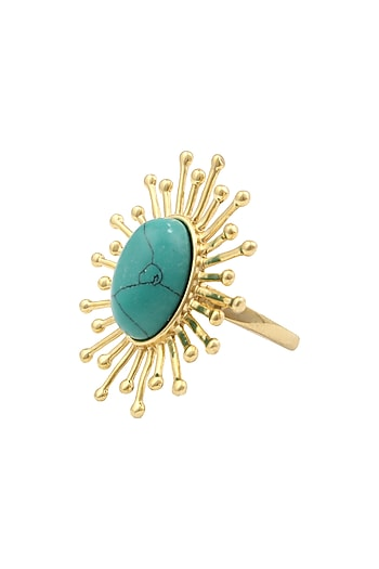 Gold Plated Feeling Blue Ring by Mirakin