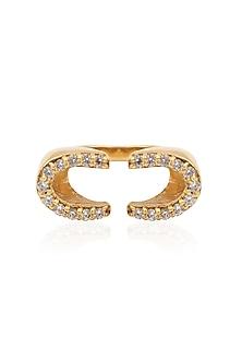 Gold Plated Horseshoe Ring by Mirakin