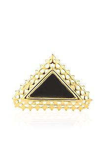 Gold Plated Dark Edge Ring by Mirakin