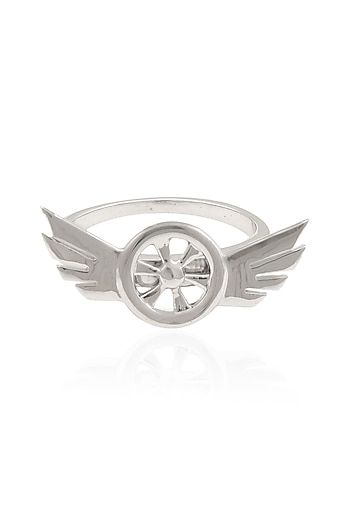 Silver Plated Rotating Biker Ring by Mirakin