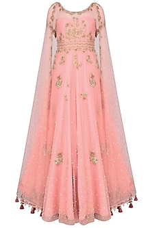 Surreal Rose Color Floral Motifs Flared Gown by Monika Nidhii