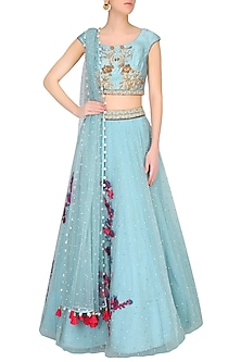 Frost Blue Sequins And Stones Floral Embroidered Lehenga Set by Monika Nidhii