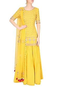Buttercup Color Floral Motifs Short Kurta And Sharara Pants Set by Monika Nidhii