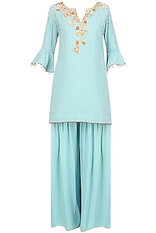 Frost Blue Floral Embroidered Short Kurta And Pants Set by Monika Nidhii