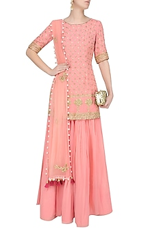Pink Floral Embroidered Motifs Short Kurta And Sharara Skirt Set by Monika Nidhii