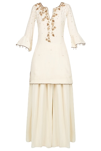 Ivory And Gold Embroidered Motifs Short Kurta And Pants Set by Monika Nidhii